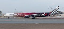 Etihad A340-600 A6-EHJ featuring the Formula 1 livery.