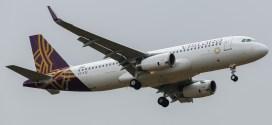 Vistara Airbus A320 VT-TTC arrives at Bengaluru performing the airline's inaugural flight UK889 from New Delhi.