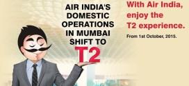 Air India's website banner announcing shift to T2 at Mumbai