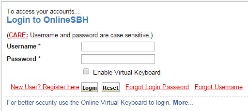 sbh online login