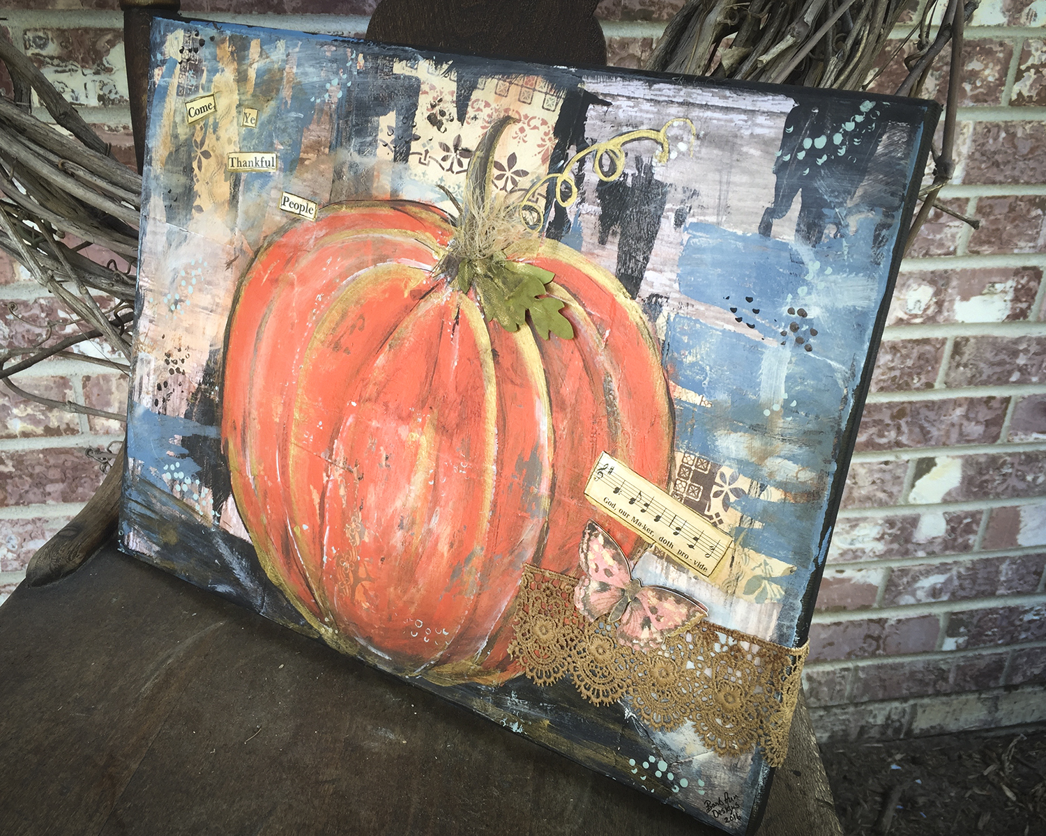 Mixed Media Pumpkin Canvas