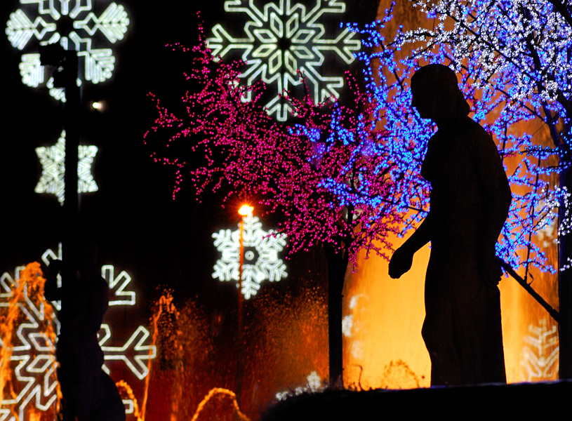 Christmas Lights and Fountains, Placa Catalunya