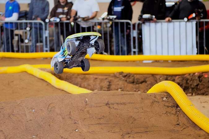 RC car making a jump at Motorama 2014