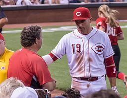 From August 27: Votto stares down a fan who battled him a foul ball. Votto would present the fan with a second ball, autographed! (Photo credit: ThatLostDog/Flickr, via Wikimedia Commons)