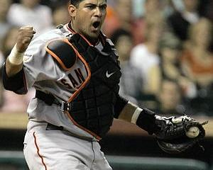 San Francisco Giants catcher Bengie Molina looks to the first base umpire for a strike call in the sixth inning in a baseball game Wednesday, May 16, 2007 in Houston. (AP Photo/Pat Sullivan)