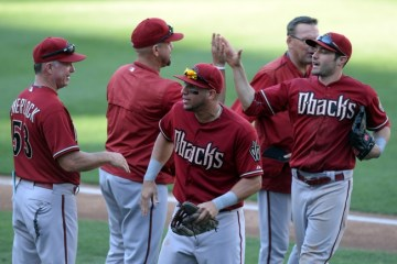 Sep 27, 2015; San Diego, CA, USA; The Arizona Diamondbacks celebrate a 4-2 win over the San Diego Padres at Petco Park. Mandatory Credit: Jake Roth-USA TODAY Sports