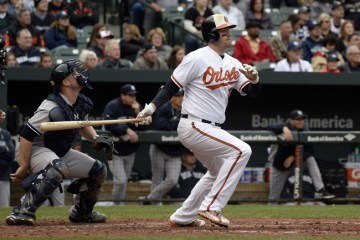 Oct 4, 2015; Baltimore, MD, USA; Baltimore Orioles catcher Matt Wieters (32) hits a double during the fourth inning against the New York Yankees at Oriole Park at Camden Yards. Mandatory Credit: Tommy Gilligan-USA TODAY Sports