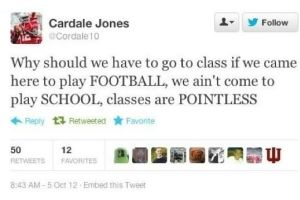 A Tweet by OSU QB Cardale Jones that he probably wishes that he could have back.