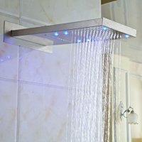 Rozin LED Light Waterfall Rainfall Bathroom Shower Head Brushed Nickel Top Sprayer