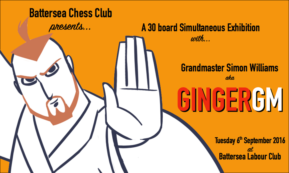 Fancy a night of red-hot pawn action? Ginger GM Simon Williams to host spicy chess simul at Battersea