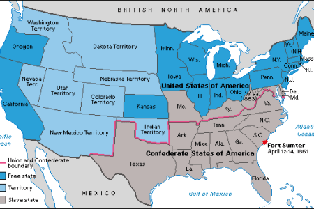 States And Territories Of The United States Of America Image - Map of the us in 1861