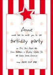 Star Strip and Spot Red Party Invitation