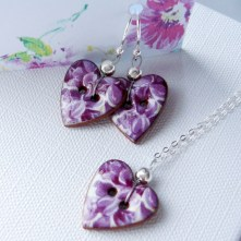 Purple Floral Heart Necklace & Earrings