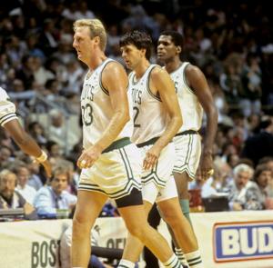 Boston Celtics Big Three, Larry Bird, Kevin McHale and Robert Parish Copyright © Lipofsky Basketballphoto.com