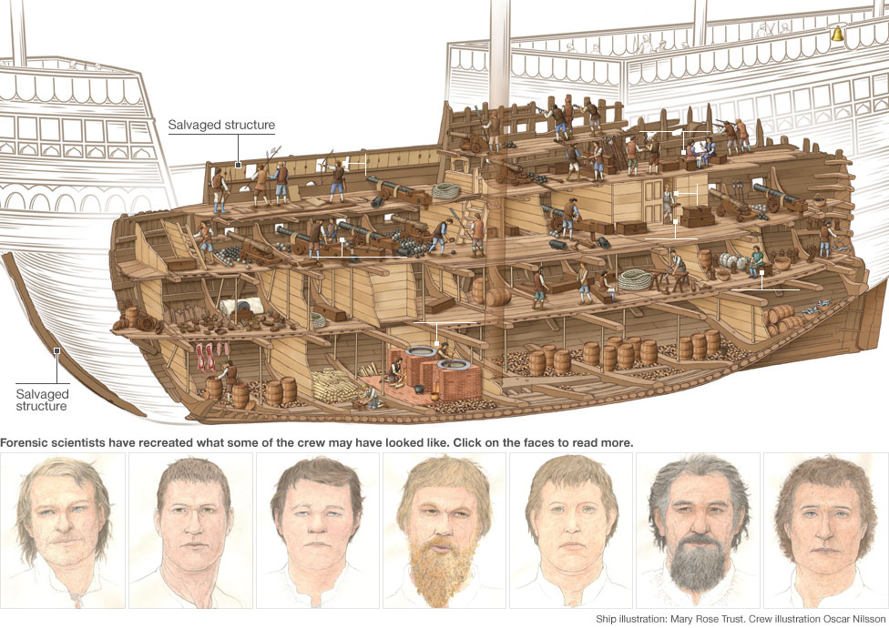 Graphic: Cutaway showing the Mary Rose