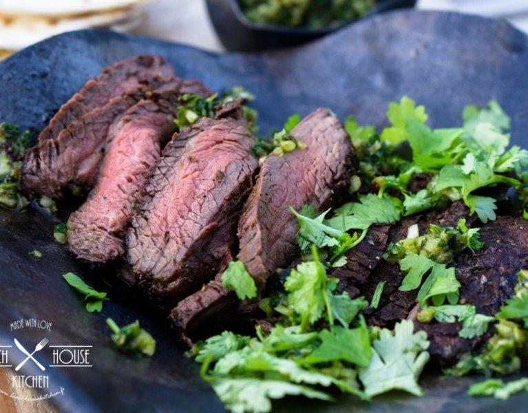 flank steak lautasella