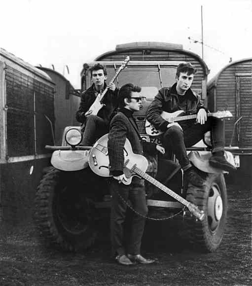 George Harrison, Stuart Sutcliffe and John Lennon in Hamburg, 1960