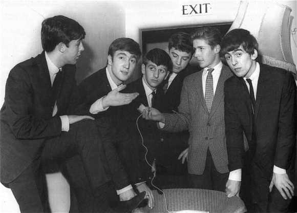 The Beatles with Monty Lister at their first radio interview, 27 October 1962