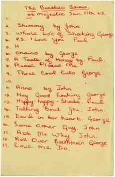 Beatles setlist, Majestic Ballroom, Birkenhead, 17 January 1963