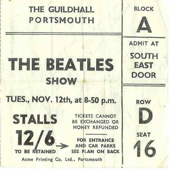 Ticket for The Beatles' Portsmouth concert on 12 November 1963, postponed to 3 December
