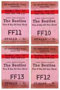 Tickets for The Beatles at Leicester's De Montfort Hall, 1 December 1963