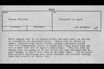George Harrison's memo to Apple staff about the Hell's Angels, 4 December 1968