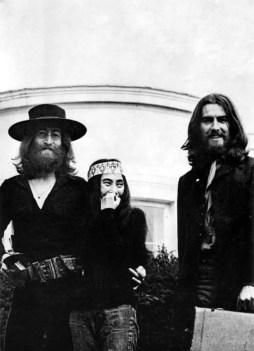 John Lennon, Yoko Ono and George Harrison at The Beatles' final photography session, Tittenhurst Park, 22 August 1969