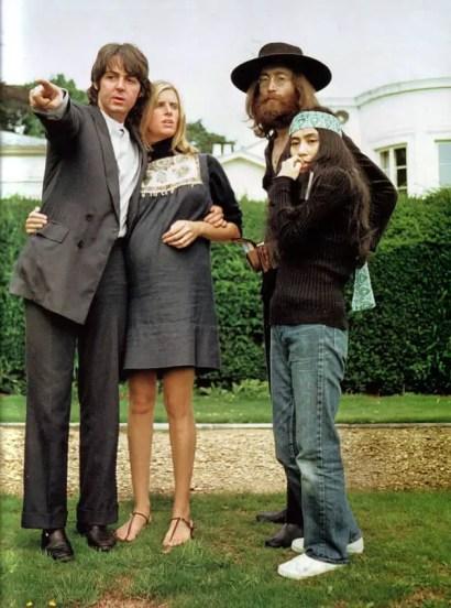 Paul and Linda McCartney, John Lennon and Yoko Ono at The Beatles' final photography session, Tittenhurst Park, 22 August 1969