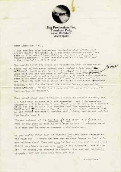 Letter from John Lennon to Paul and Linda McCartney, 1971