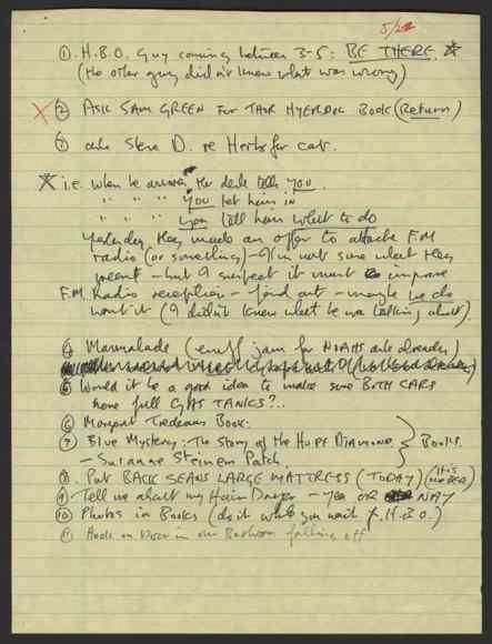 To-do list written by John Lennon, 22 May 1980
