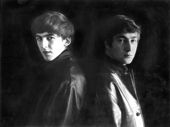 John Lennon and George Harrison in Stuart Sutcliffe's art studio at Astrid Kirchherr's house, 1962