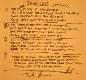 John Lennon's handwritten lyrics for In My Life