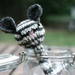 Handmade crochet mouse baby rattle