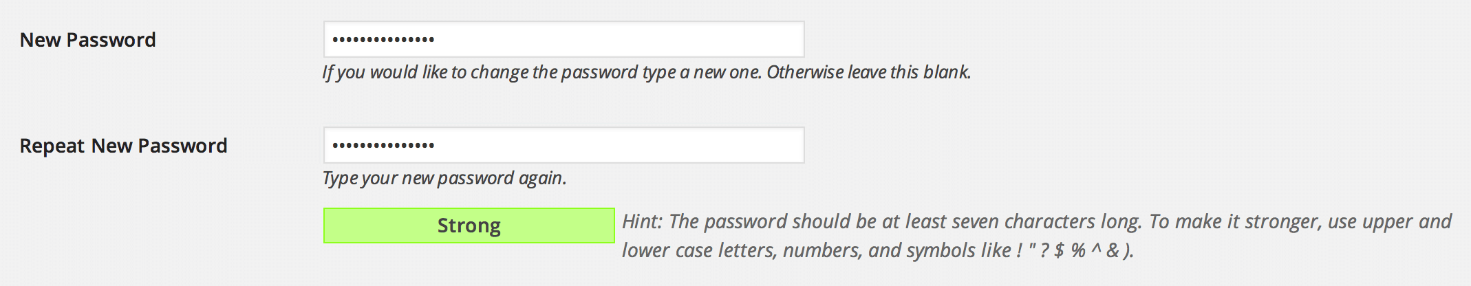 User Profile password