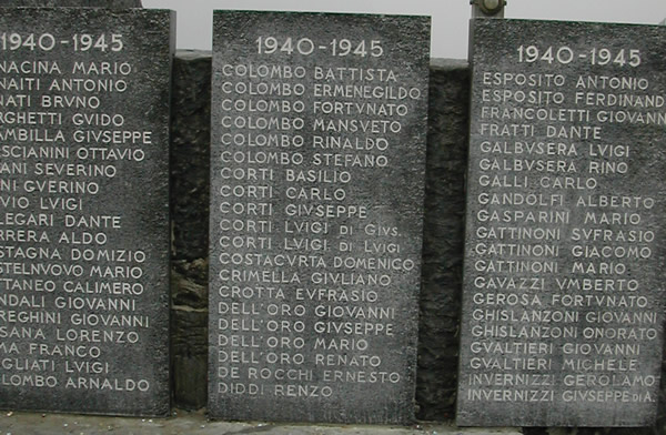 War memorial in lecco more names which are now rare and might be
