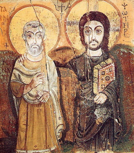 icon of Jesus & St Menas