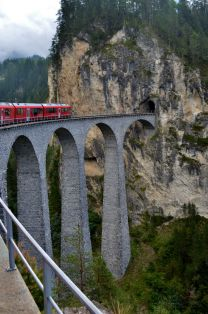 crossing the famous Landwasser Viaduct from mountainside to mountainside
