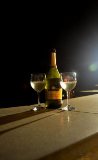wine on our terrace on a warm summer night