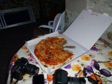 Pizza, fresh bread, pachuto ham and italian salami & wine