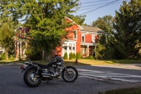 Motorbike in a street in Vergennes, Vermont