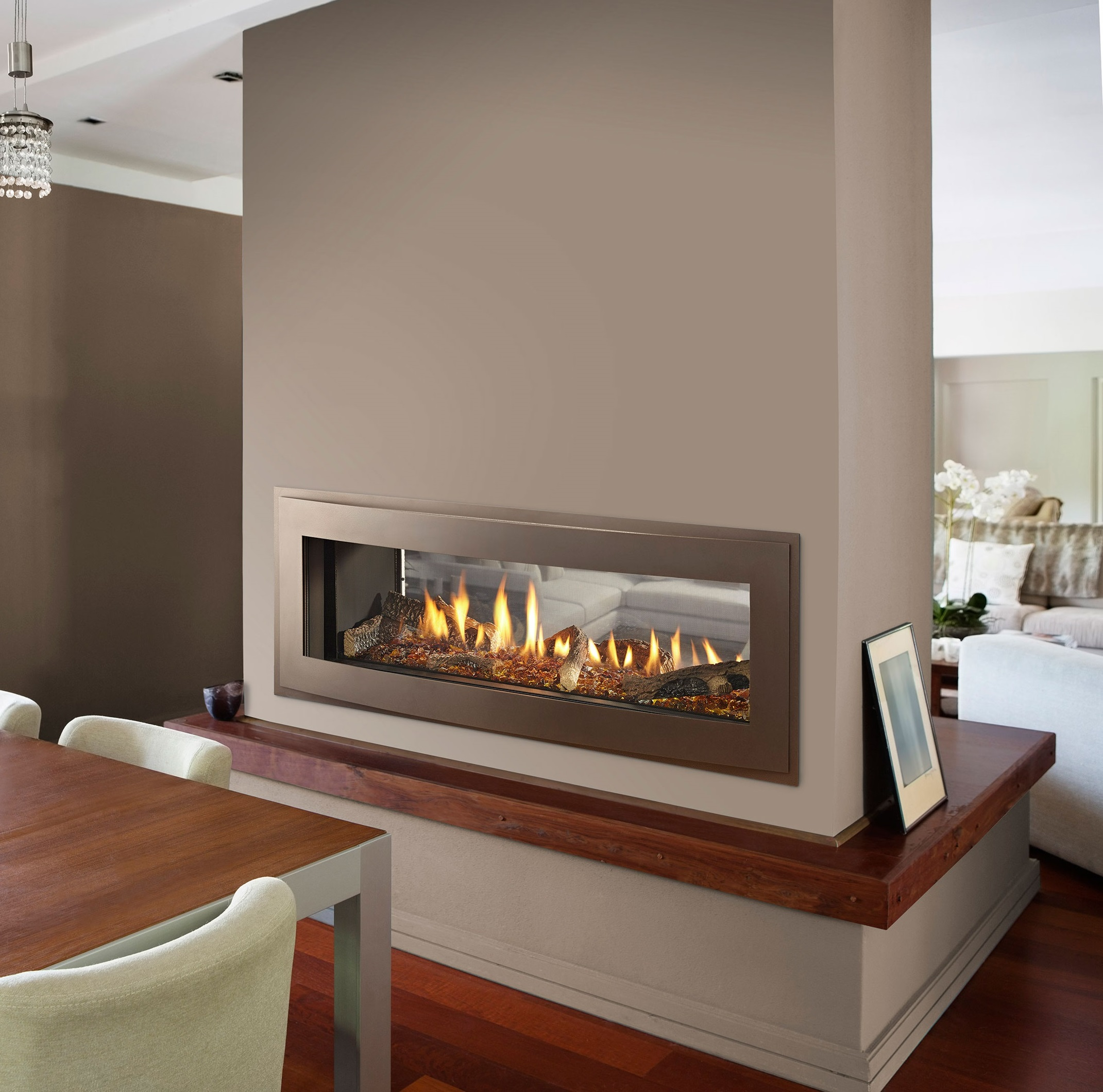 The new face of fireplaces fireside of bend central for Through fireplace