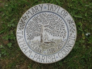 slip decorated commemorative plate