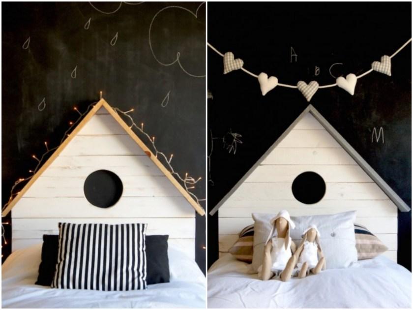 Eine schöne Idee: Schwarzer Tafellack im Kinderzimmer hinter dem Kinderbett