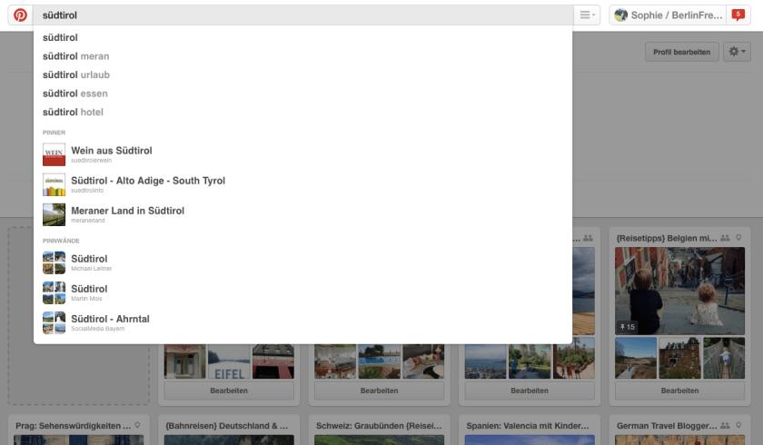 Reiseplanung mit Pinterest: Die Suchfunktion von Pinterest unterstützt dich schon bei der Eingabe mit Vorschlägen zu passenden Stichworten, Pinnern und Pinnwänden.(Quelle: www.Berlinfreckles.de)