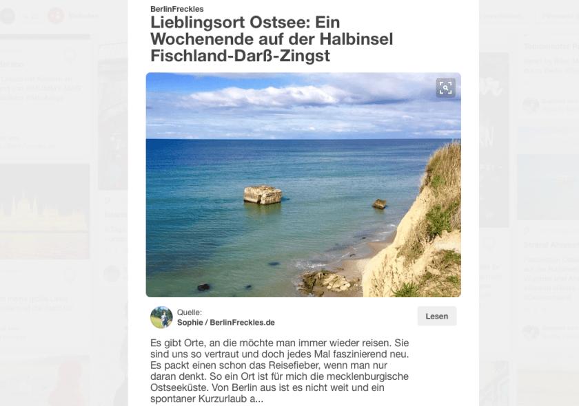 Reiseplanung mit Pinterest: Zu jedem Pin kannst du dir optisch und inhaltlich ähnliche Pins anzeigen lassen. (Quelle: www.Berlinfreckles.de)