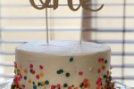 white cake with confetti, first birthday cake, confetti cake, simple cake, cake with sprinkles