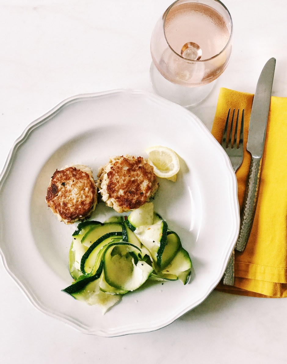 crabcakes with shaved zucchini salad light summer meal