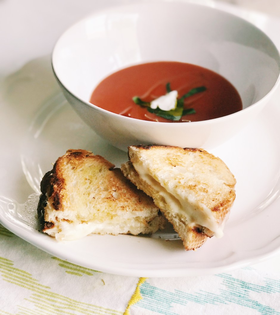 tomato soup and grilled cheese, fancy grilled cheese, classic food pairings