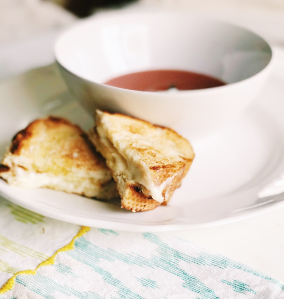 go to lunch or dinner idea, tomato soup and a fancy grilled cheese, a classic and tasty pairing.