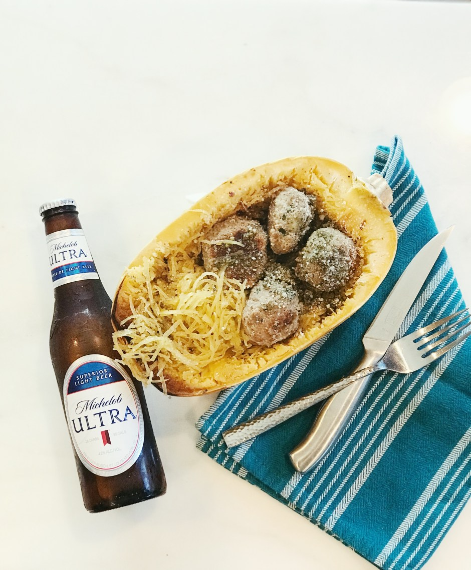 Low carb easy meal with spaghetti squash, turkey meatballs in a pesto sauce